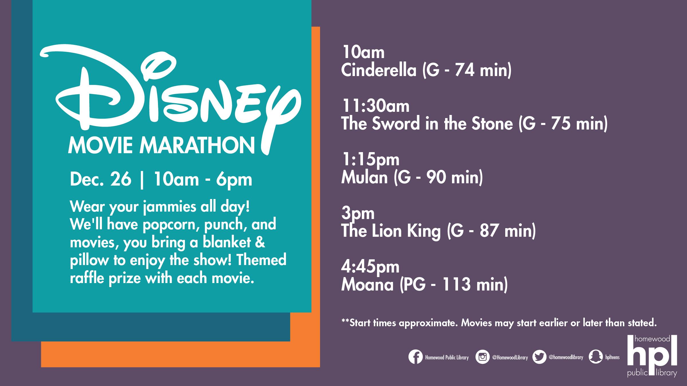 Disney Movie Marathon - Jammie Day! | Homewood Public Library